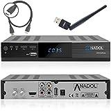Anadol HD 222 Plus HD HDTV digitaler Satelliten-Receiver (Wifi, HDTV, DVB-S2, HDMI, 2x USB 2.0, Full HD 1080p, Youtube) [vorprogrammiert für Astra Hotbird Türksat ] inkl. HDMI Kabel – schwarz