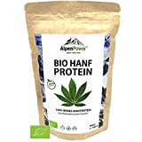 ALPENPOWER | BIO HANFPROTEIN | Ohne Zusatzstoffe | 100% reines Hanfprotein | Hochwertiges Eiweiß | Vegan | Vielseitig anwendbar | Low Carb | Organic Hemp Protein | 500g