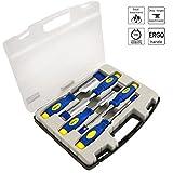 S&R Stechbeitelsatz 5 Stück: 6, 12, 20, 25, 32mm, Mehrkomponenten-Hüllen, Professional, im transparenten Koffer