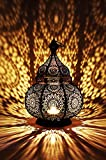 Orientalische Laterne aus Metall Ziva Schwarz 30cm   orientalisches Marokkanisches Windlicht Gartenwindlicht   Marokkanische Metalllaterne für draußen als Gartenlaterne, oder Innen als Tischlaterne
