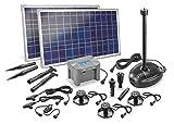 Solar Teichpumpenset Genova LED 50W Solarmodul mit Akku Solarpumpe Gartenteichpumpe Teich 101727