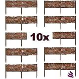 10 X Floranica® Weide Beeteinfassung, Steckzaun in 25 Größen, Rasenkante, Weidenzaun - imprägniert mit Buchepflöcke für leichtes Einsetzen, Länge:100 cm, Höhe:10 cm