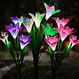 Solarleuchte Garten, Sinicyder 3 Stück 12-Kopf Solarleuchten für Außen, Garten Lampen Lilie Solarlichter mit größerer Blume und Breiterem Solarpanel für die Gartendekoration (Weiß, Pink & Lila)