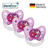 Dentistar® Latex Schnuller 3er Set - Nuckel Größe 2, 6-14 Monate - Naturkautschuk Beruhigungssauger für Babys - Blumen, lila