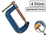 4 Stück Profi C-Schraubzwinge 50mm robust Stahl-Gewinde verkupfert gegen Schweißperlenbesatz