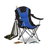 Relaxdays Campingstuhl faltbar, gepolsterte Lehne verstellbar, Anglerstuhl klappbar, HxBxT: 108x90x72 cm, blau-schwarz