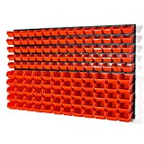 141 teiliges Wandregal Lagerregal Stapelboxen Orange Gr.1 Gr.2 Wandplatten Lager Werkstatt