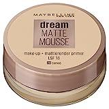 Maybelline Dream Matte Mousse Make-up Nr. 20 Cameo, mattierendes Make-up mit luftgeschlagener Mousse-Textur, für ein luftig-leichtes Tragegefühl und wunderbar zarte Haut, 18 ml