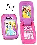 Handy mit SOUND - Disney Princess - Prinzessin - incl. Name - für Kinder / Mädchen - Maus - Auto Kinderhandy / Spielzeughandy - Spielzeugtelefon - Klapphandy Telefon - Lernhandy / Kindertelefon zum Aufklappen - Spielzeug Musik Melody - Flip Top