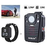 Lu Tragbare Body Camera 170 ° Weitwinkel GPS-Audio-und Videoarbeit-Brenner IR Night Vision HD1296P Wireless Wearable Camera 2.0 Zoll LCD-Display 128GB Speicher