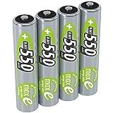 ANSMANN Micro AAA Akkubatterien, LSD Akku 1,2V/Typ 550mAh/NiMH Hochleistungsakku mit maxE Technologie für hohe Langlebigkeit - ideal für Geräte mit hohem Stromverbrauch, 1 x 4 Stück