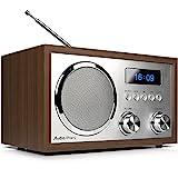 AudioAffairs DAB+Digitales Nostalgie-Radio | UKW-Retroradio mit Bluetooth | 2 Alarmzeiten mit Radiowecker | AUX-IN | Kopfhörereingang | Walnuss – Nur erhältlich auf Amazon.de