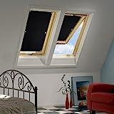 Kinlo 57*100cm Sonnenschutz Dachfensterrollo Rollo Auto für Velux Dachfenster Auto mit beschichteter Rückseite ohne Bohren