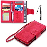 Xperia Z5 Hülle, Xperia Z5 Tasche Leder, Huphant Flip Case Leder [9 Credit Cards & Imprited Girl in Floral Skirt Serie]PU Leather Case Wallet Case Magnet Case Book Case Schutzhülle Klappbar für Sony Xperia Z5(5.2')+1X Schwarzer Stylus Touchscreen Pen - Rot