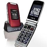 Großtasten Mobiltelefon, Seniorenhandy MB 100 bordeaux rot, Klapphandy u.a. mit Kamera,...