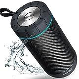 COMISO Wasserdicht Bluetooth Lautsprecher Kabellose Portabler 12W Lautsprecher Box mit 36-Stunden Spielzeit & Dual-Treiber Wireless Speakers mit Mikrofon und Reinem Bass (Schwarz)