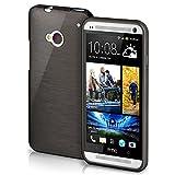 HTC One M7 Hülle Silikon Schwarz [OneFlow Brushed Back-Cover] TPU Schutzhülle Ultra-Slim Handyhülle für HTC One M7 Case Dünn Silikonhülle Rückseite Tasche