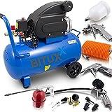 BITUXX® 50 Liter Druckluftkompressor Luftdruck Kompressor + 13 teiliges Druckluft Zubehör-Set inkl. Ausblas- Reifendruck- & Lackierpistole + Schlauch