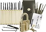 20-teiliges Lockpicking-Set mit transparentem Vorhängeschloss & Werkzeug-Set im Kreditkartenformat von LockCowboy - für Anfänger & Profis