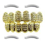 24K vergoldeter Grillz mit Micropave CZ Diamanten + 2 EXTRA Formteile (Jeder Stil, Weißgold, Silber, Gold, Diamanten) (Gold mit Diamanten)