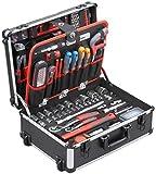 Meister Werkzeugtrolley 156-teilig ✓ Werkzeug-Set ✓ Mit Rollen ✓ Teleskophandgriff | Profi Werkzeugkoffer befüllt | Werkzeugkiste fahrbar auf Rollen | Werkzeugbox komplett mit Werkzeug | 8971440