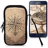 kwmobile Handytasche Neopren Sleeve für Smartphones M - 5,5 - Handy Tasche Case Schutzhülle mit Kompass Barock Design Dunkelbraun Beige