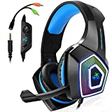Gaming Headset für PS4, 3.5mm Surround Sound Kabelgebundenes Headset mit Mikrofon, Buntes...