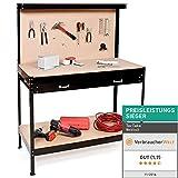 TecTake Werkbank 120 x 60 x 156 cm aus Metall mit Werkzeugwand