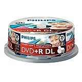 Philips DVD+R Rohlinge (8.5 GB Data/240 Minuten Video, 8x High Speed Aufnahme, 25er Spindel, double layer DL, inkjet printable)