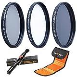 K&F Concept® 55mm Objektiv Filter UV Filterset 55mm CPL Filter 55mm Polfilter 55mm ND Filterset ND4 Filter für Sony A37 A55 A57 A65 A77 A100 mit Reinigungsstift und Filtertasche