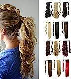S-noilite® Haarteil Zopf Pferdeschwanz Gewellt Haarverlängerung 43cm natürlich Hair Piece div. Farben (43cm , Golden Mix Bleichmittel Blond)