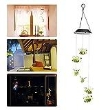 Jeteven Windspiele Solar LED mit Farbwechsel Biene Form Äolsglöckchen aus Kunststoff, 5 Farbe und Farbwechsel,5x5x27'' Bunt
