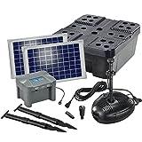 Solar Teichfilterset Profi 630 l/h Förderleistung mit Akku und LED Beleuchtung 2 x 10 W Solarmodul Komplettset bis 2000l Gartenteich 101073