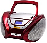 CD-Player | Tragbares Stereo Radio | Kinder Radio | Stereo Radio | Stereoanlage | USB | CD / MP3 Player | Radio | Kopfhöreranschluss | AUX IN | LCD-Display | Batterie sowie Strombetrieb | (Rot)