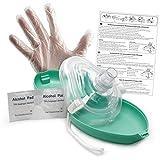 Lunata® CPR Erste Hilfe Maske mit Sauerstoffanschluss, Notfallbeatmungsmaske, Notfallmaske, Beatmungsmaske mit Zubehör und Ersthelfer-Anleitung