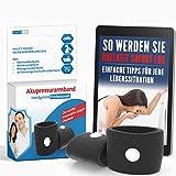 Akupressur Armband gegen Übelkeit - Ideal für Schwangerschaftsübelkeit, Seekrankheit, Reiseübelkeit (Schwarz) + E-Book: So werden Sie Übelkeit sofort los!