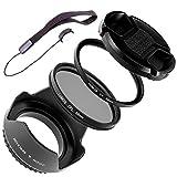 LUMOS COMPLETE Objektiv Zubehör Set 55mm | Gegenlichtblende UV Schutz-Filter Polfilter Objektivdeckel & Halter | für Ihr Kamera Objektiv mit 55 mm Filtergewinde