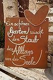 Edelrost Tafel mit Herz - Ein schöner Garten - Schild Gedichttafel Spruch Gartendekoration