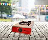 FRX Gaskocher Campingkocher 1-flammig Transportabel Camping-Gasgrill Mehrflammkocher Gasplatte Gaskochfeld Zweiflammkocher Kochfeld Hockerkocher (1flammig)