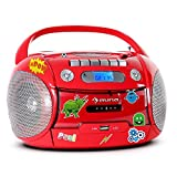 auna Boomheart Ghettoblaster Kassettenplayer (Sticker-Set, CD-Player, UKW-Radio, MP3-fähiger USB-Port, Netz-/Batteriebetrieb, transportabel) rot