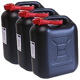 3er Set: 3x Benzinkanister schwarz 20 Liter UN Kraftstoffkanister 20 L Made in Germany !