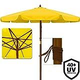 Deuba® Sonnenschirm ✔UV-Schutz 40 Plus ✔Holz ✔Ø 350cm ✔Gelb ✔stabile Verstrebungen ✔wasserabweisend - Gartenschirm Terrassenschirm Marktschirm Holz-Sonnenschirm