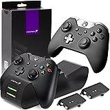 Fosmon Kabellose Ladegerät für Xbox One / One S / One X / Elite Konsole Controller, Dual Charger Docking Station / Ladestation Ständer mit 2 x 1000mAh Wiederaufladebare Akkus Batterien - Schwarz