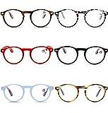 VEVESMUNDO Lesebrillen Damen Herren Retro Runde Lesehilfe Sehhilfe Arbeitsplatzbrille Nerdbrille Hornbrille mit Stärke Schwarz Leopard Blau Rot Brau