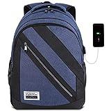 YAMTION Laptop Rucksack Herren Rucksack Schulrucksack mit USB-Ladeanschluss und 15,6 Zoll Laptopfach für Schule Arbeit Reise,40L