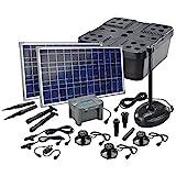 Solar Teichfilterset Profi 1700 l/h Förderleistung mit Akku und LED Beleuchtung 2 x 25 W Solarmodule Komplettset bis 6000l Gartenteich 101075