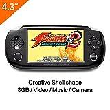 8GB Handspiel -Konsole 4.3 Zoll Mp4 Player Videospielkonsole Built Hunderte von Spielen unterstützen GBA / GBC / GB / SFC / FC / SEGA / SMC Spiele und Ebook Kamera-Aufnahme (schwarz)