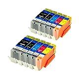 10 Druckerpatronen für IP7250 MG 5450 MIT CHIP und Füllstandanzeige für Canon Pixma MG6350, MX725, MX925, kompatibel zu PGI550BK , CLI551C , CLI551M, CLI551Y und CLI551BK