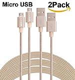 SEGMOI (TM) im 2er-Pack 3M 10FT extralange Tangle Freie Nylon Geflochtene High Speed Micro-USB-Lade Data Sync-Kabel Ladegerät Kabel mit Aluminiumleitern für Samsung HTC LG Huawei Xiaomi ZTE (goldene)