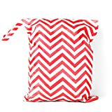 Foxnovo Washable Waterproof Zippered Baby Cloth Diaper Nappy Bag Wet Dry Bag Tote with Soft Snap Handle (Red)